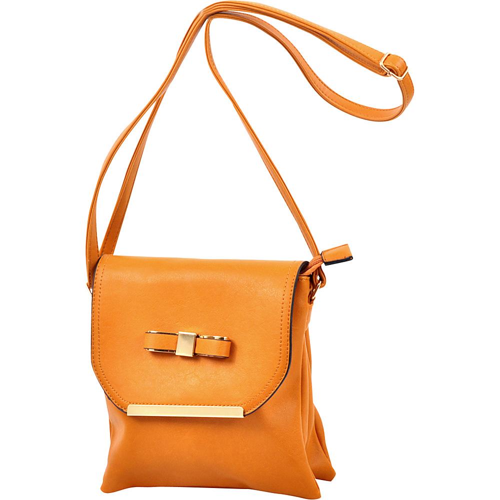 Dasein Gold-Tone Bow Crossbody Bag Tan - Dasein Leather Handbags - Handbags, Leather Handbags