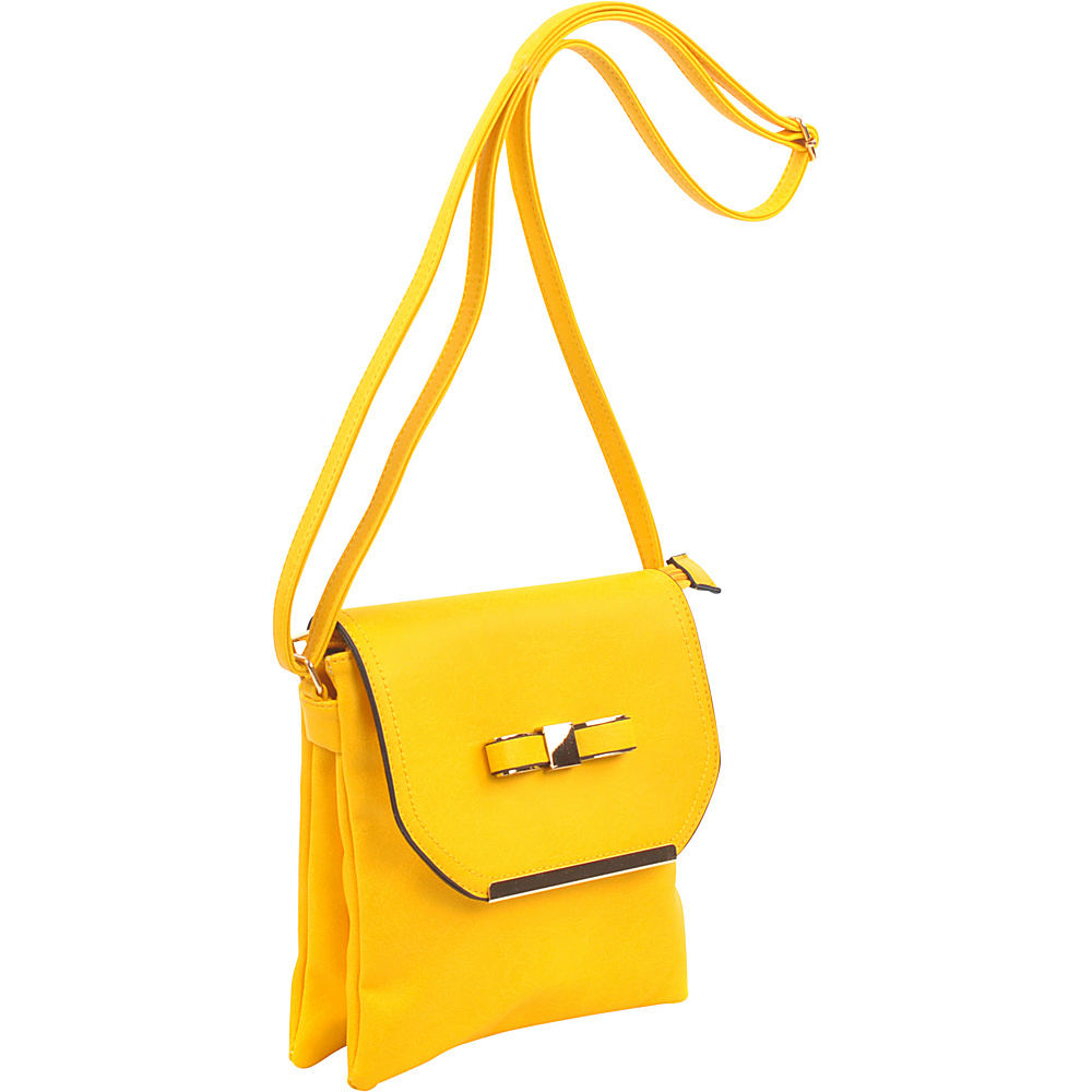 Dasein Gold-Tone Bow Crossbody Bag Yellow - Dasein Leather Handbags - Handbags, Leather Handbags