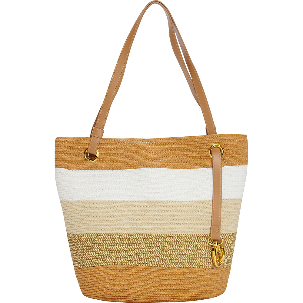 Magid Paper Straw Lurex Stripe Small Tote Toast/Multi - Magid Straw Handbags