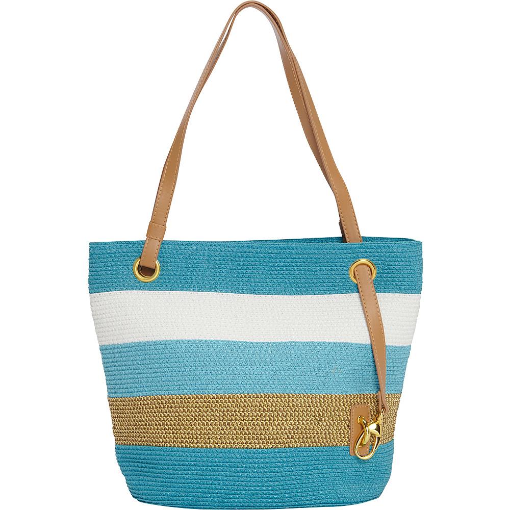 Magid Paper Straw Lurex Stripe Small Tote Turquoise/Multi - Magid Straw Handbags