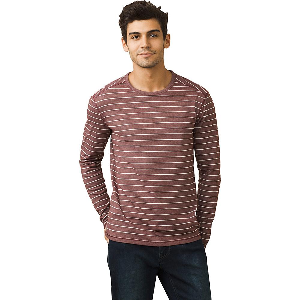 PrAna Keller Long Sleeve Crew Shirt XL - Mahogany - PrAna Mens Apparel - Apparel & Footwear, Men's Apparel