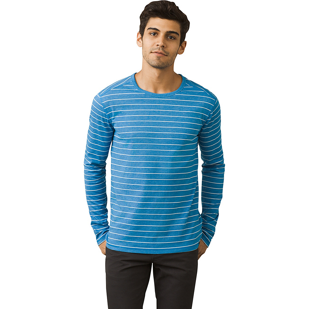 PrAna Keller Long Sleeve Crew Shirt M - Vortex Blue - PrAna Mens Apparel - Apparel & Footwear, Men's Apparel