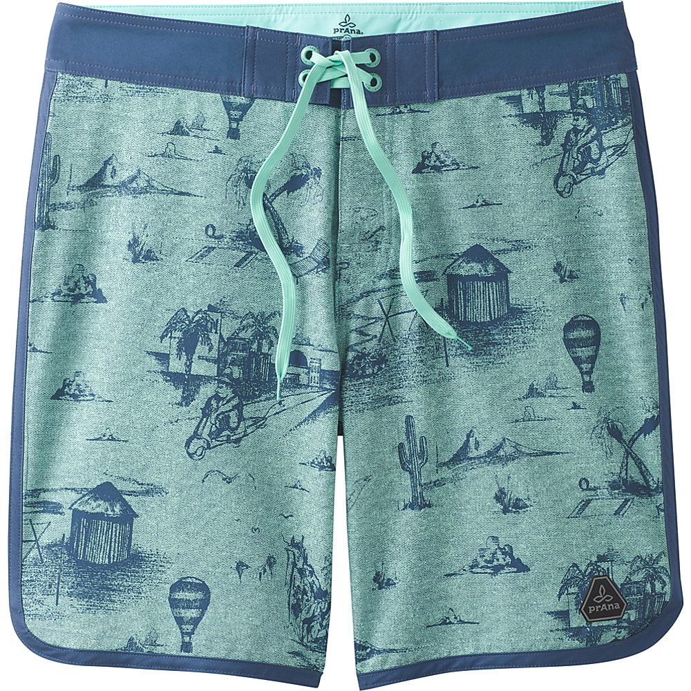 PrAna High Seas Shorts 38 - Green Island Punch - PrAna Mens Apparel - Apparel & Footwear, Men's Apparel