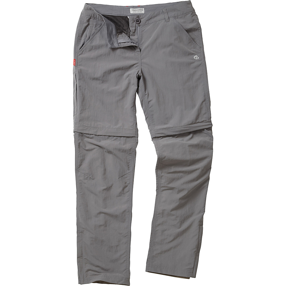Craghoppers Nosilife Convertible Trousers - Regular 4 - Platinum - Craghoppers Womens Apparel - Apparel & Footwear, Women's Apparel