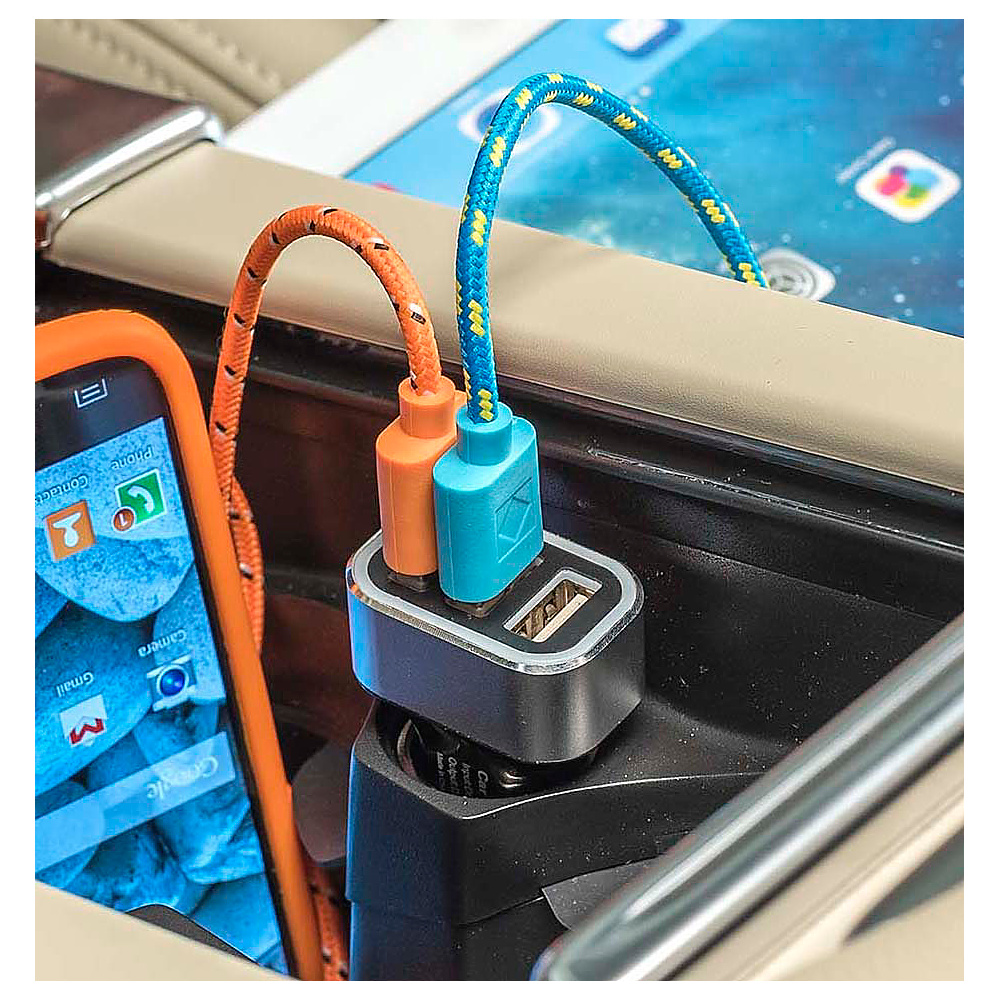 High Road 5A Triple USB Car Charger for Smartphones and Tablets Black High Road Portable Batteries Chargers