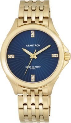 Armitron Mens Swarovski Crystal Accented Gold-Tone Bracelet Watch Blue - Armitron Watches