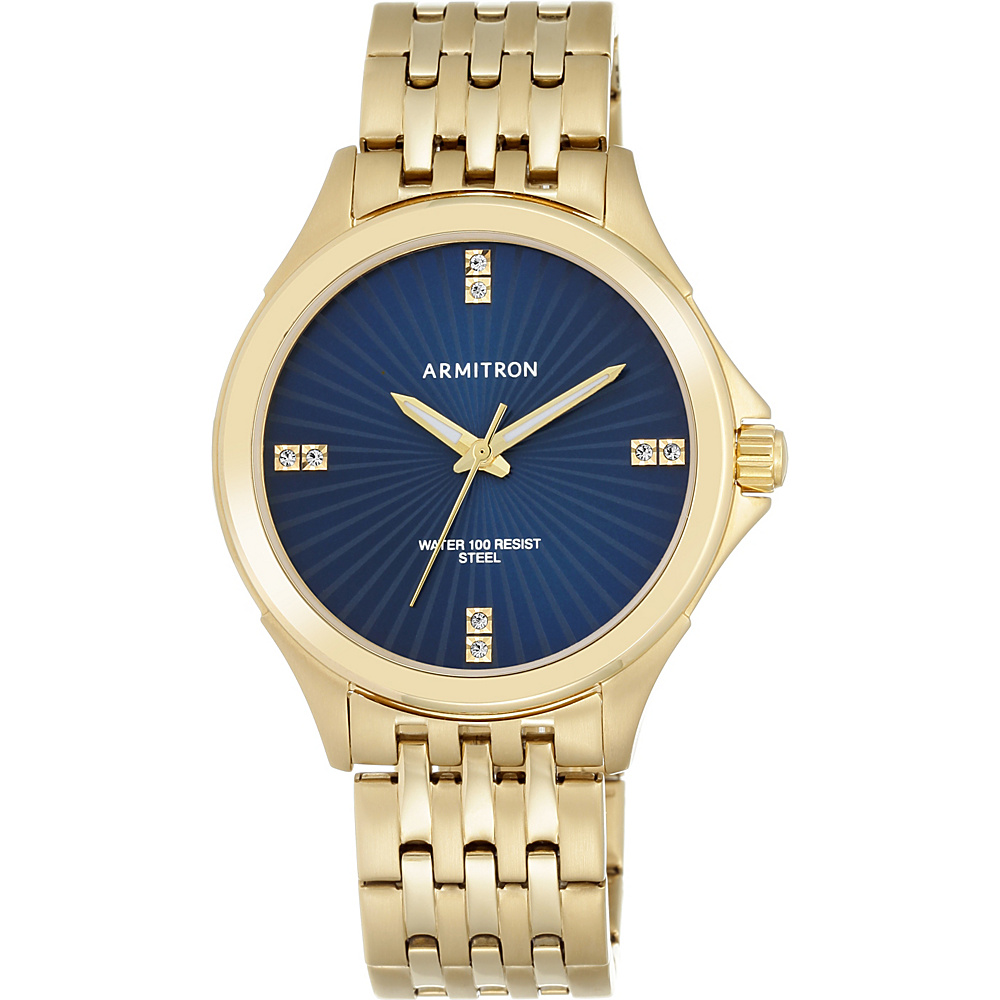 Armitron Mens Swarovski Crystal Accented Gold Tone Bracelet Watch Blue Armitron Watches