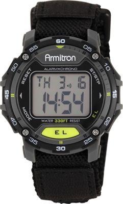 Armitron Sport Unisex Black Velcro Strap Grey Round Digital Chronograph Watch Black - Armitron Watches
