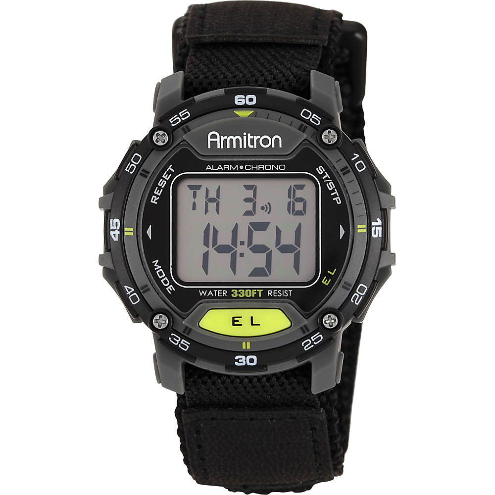 Armitron Sport Unisex Black Velcro Strap Grey Round Digital Chronograph Watch Black Armitron Watches