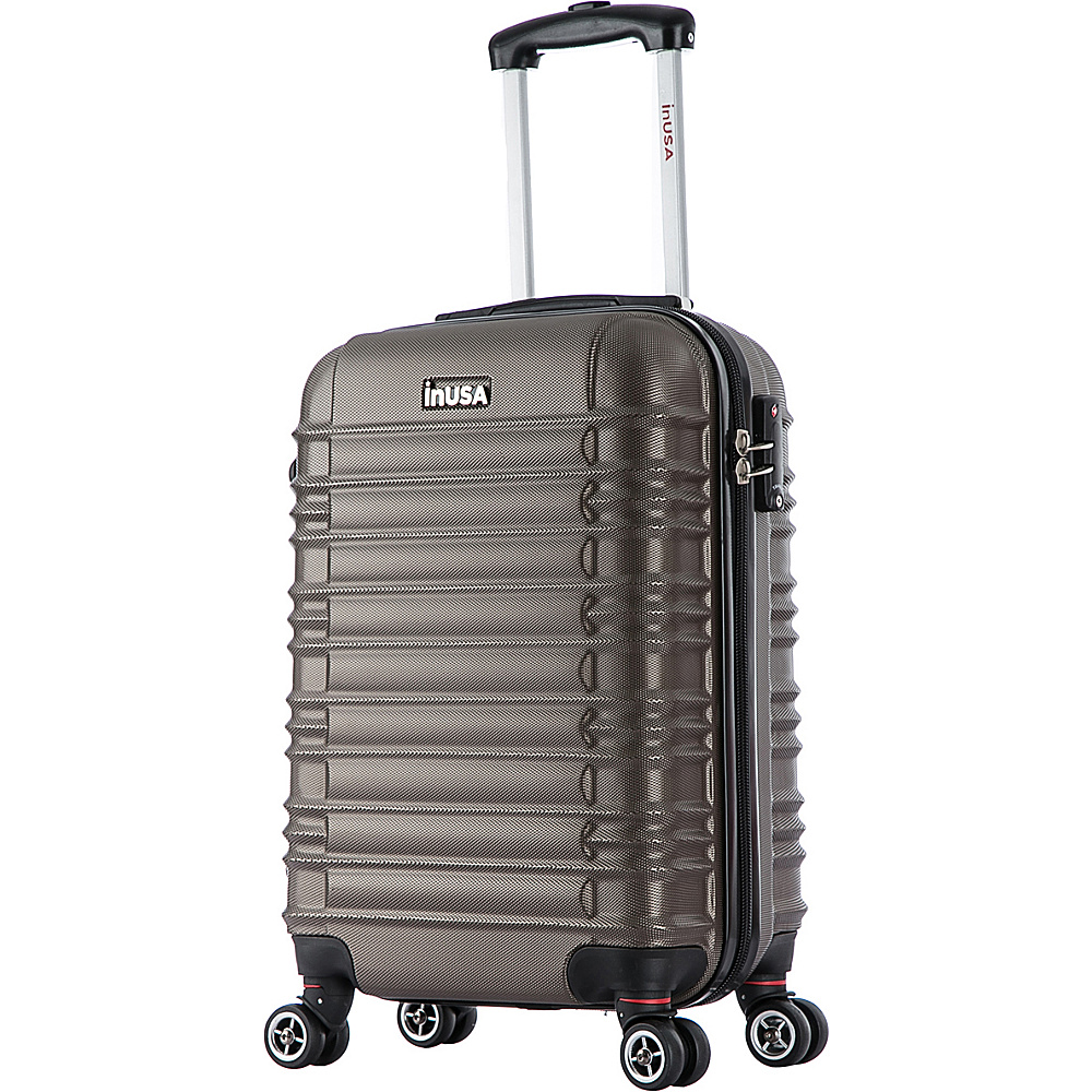 inUSA New York Collection 20 Carry on Lightweight Hardside Spinner Suitcase Brown inUSA Hardside Carry On