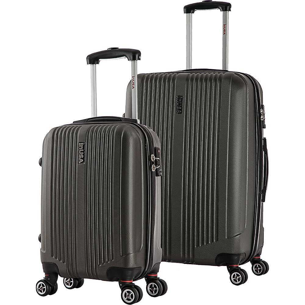 inUSA San Francisco SL 2 Piece Lightweight Hardside Spinner Luggage Set Charcoal inUSA Luggage Sets
