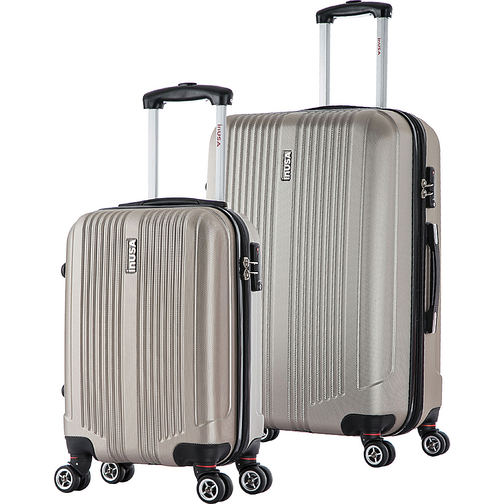 inUSA San Francisco SL 2 Piece Lightweight Hardside Spinner Luggage Set Champagne inUSA Luggage Sets
