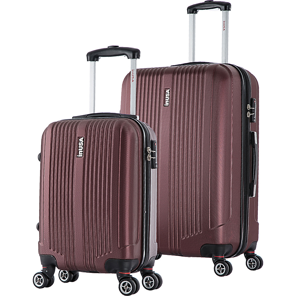 inUSA San Francisco SL 2 Piece Lightweight Hardside Spinner Luggage Set Wine inUSA Luggage Sets