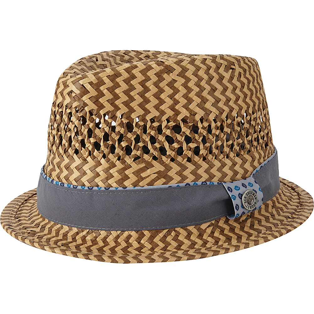Ben Sherman Vented Straw Trilby Hat Light Grey - S/M - Ben Sherman Hats/Gloves/Scarves