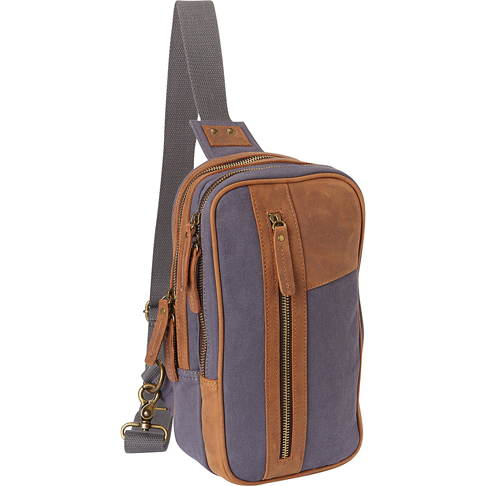 Vagabond Traveler Dual Compartments Cotton Canvas Travel Chest Pack Blue Grey - Vagabond Traveler Slings - Backpacks, Slings