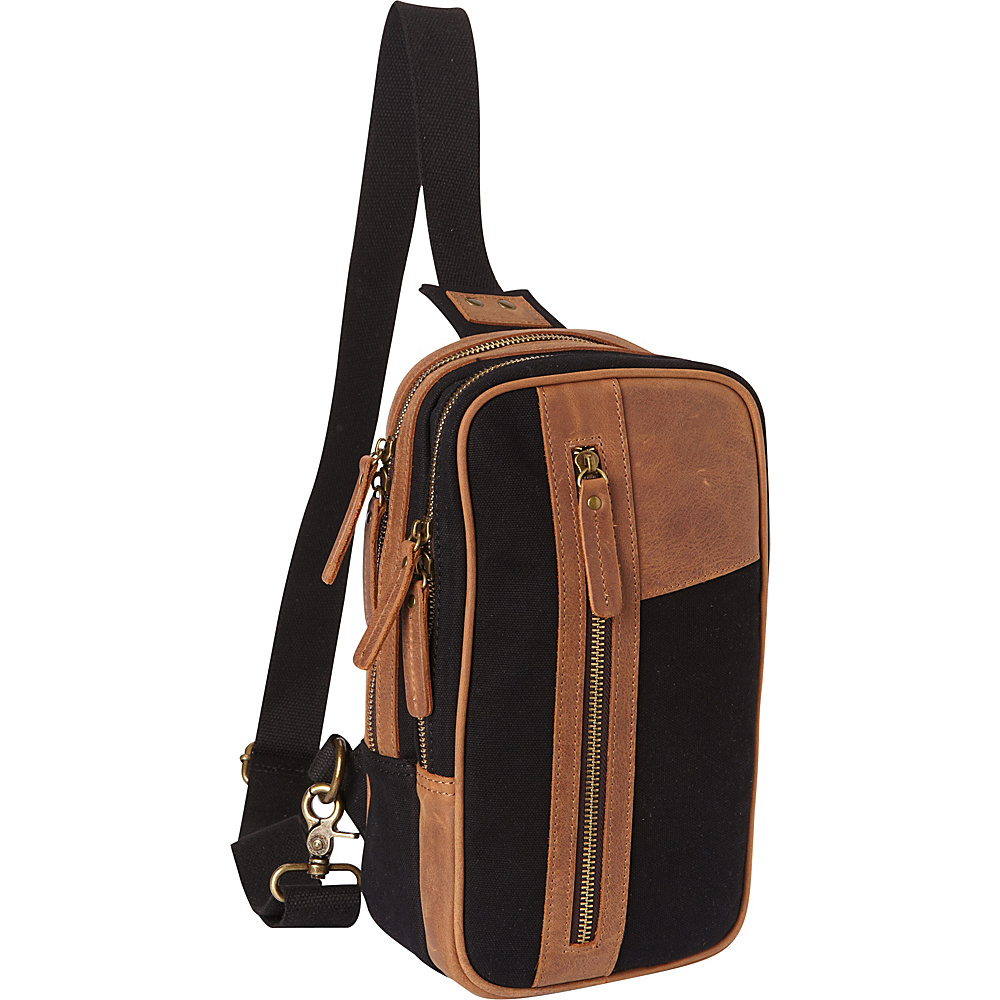Vagabond Traveler Dual Compartments Cotton Canvas Travel Chest Pack Black - Vagabond Traveler Slings - Backpacks, Slings