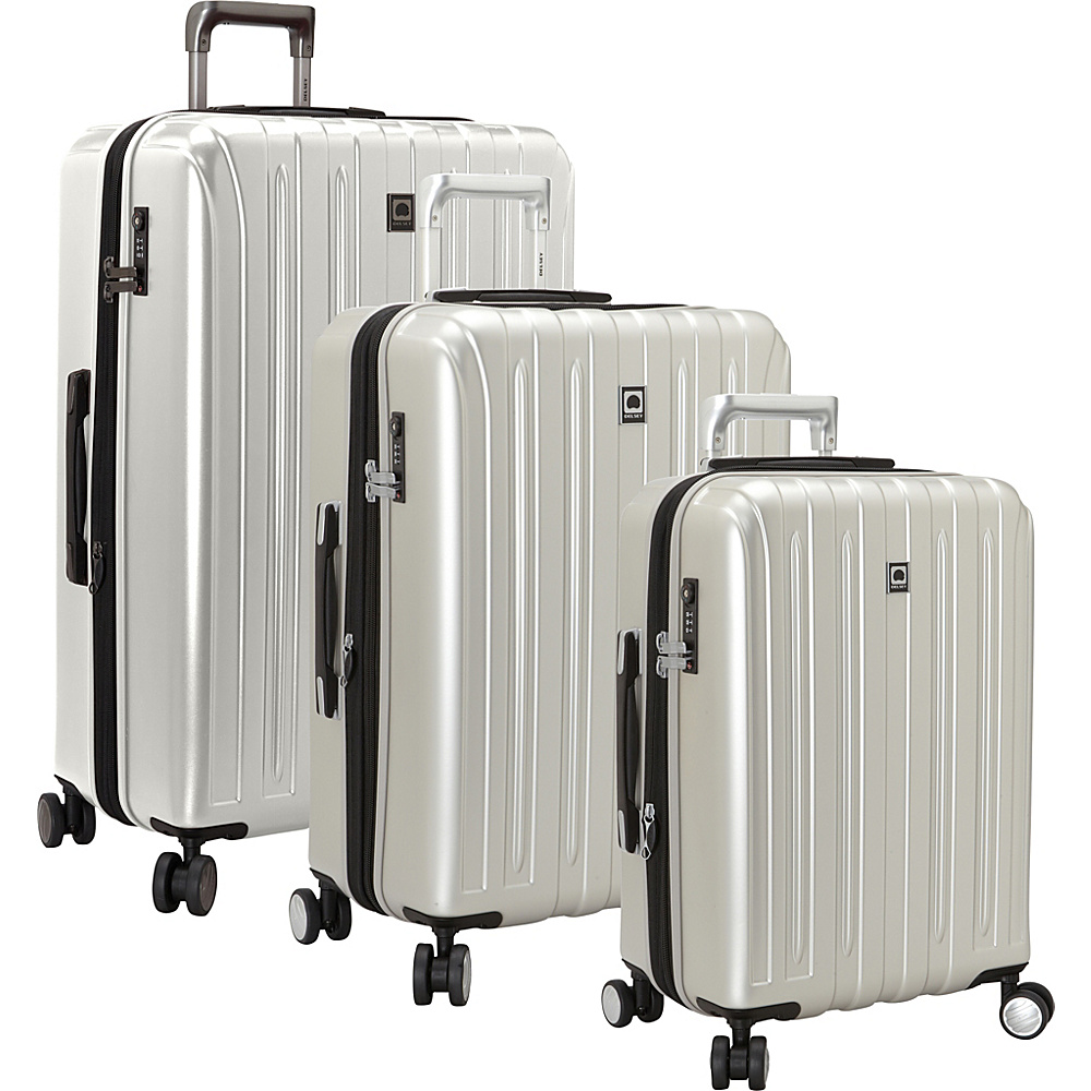 Delsey Helium Titanium 3 Piece Expandable Hardside Luggage Set Silver Delsey Luggage Sets