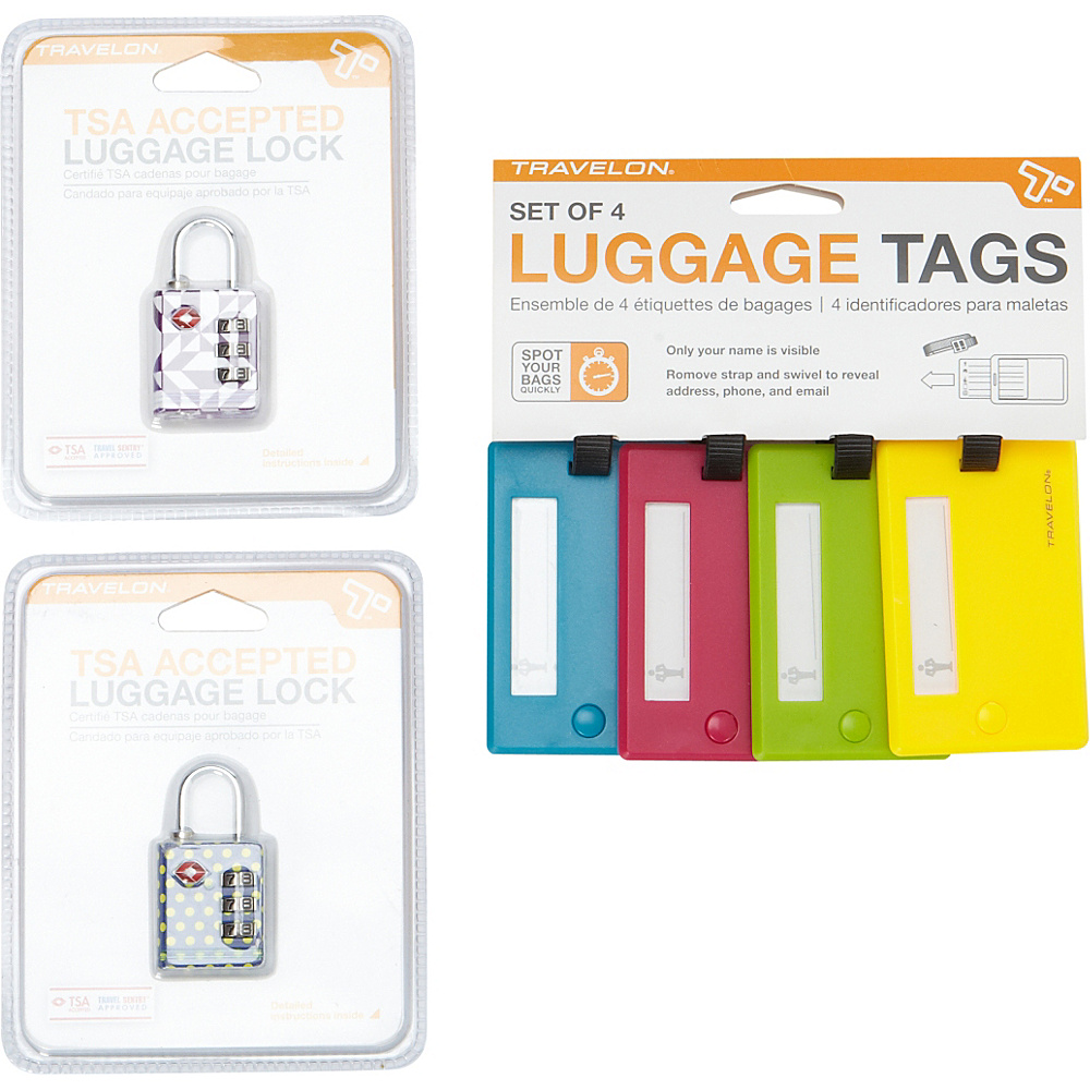 Travelon Secure-It Luggage Locks and Luggage Tags Bundle Assorted - Travelon Luggage Accessories - Travel Accessories, Luggage Accessories