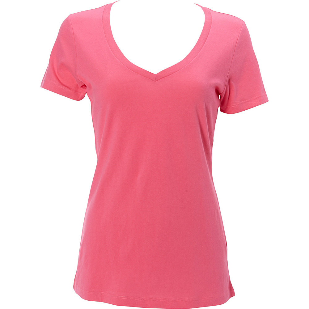 Simplex Apparel The Womens Deep V Tee L - Hot Pink - Simplex Apparel Womens Apparel - Apparel & Footwear, Women's Apparel