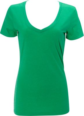 Simplex Apparel Triblend Womens Deep V Tee M - Lush Green - Simplex Apparel Women's Apparel