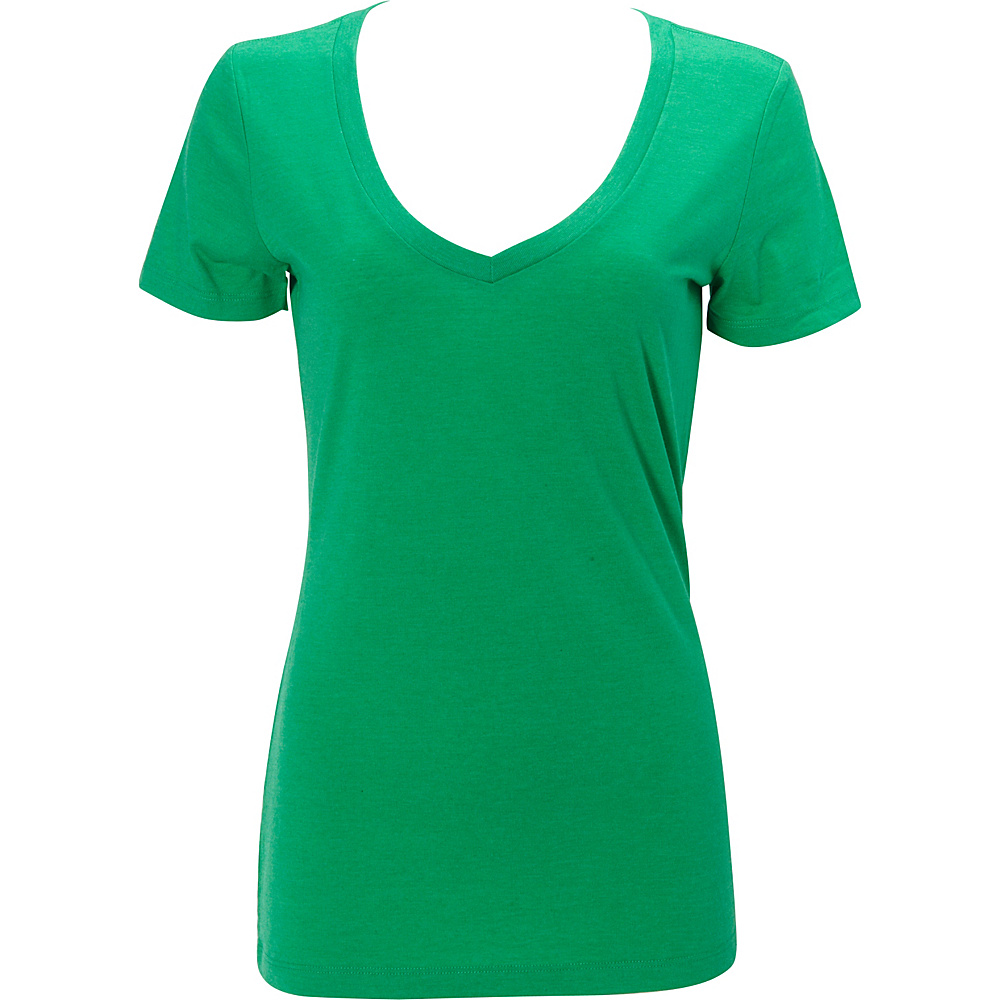Simplex Apparel Triblend Womens Deep V Tee S - Lush Green - Simplex Apparel Womens Apparel - Apparel & Footwear, Women's Apparel