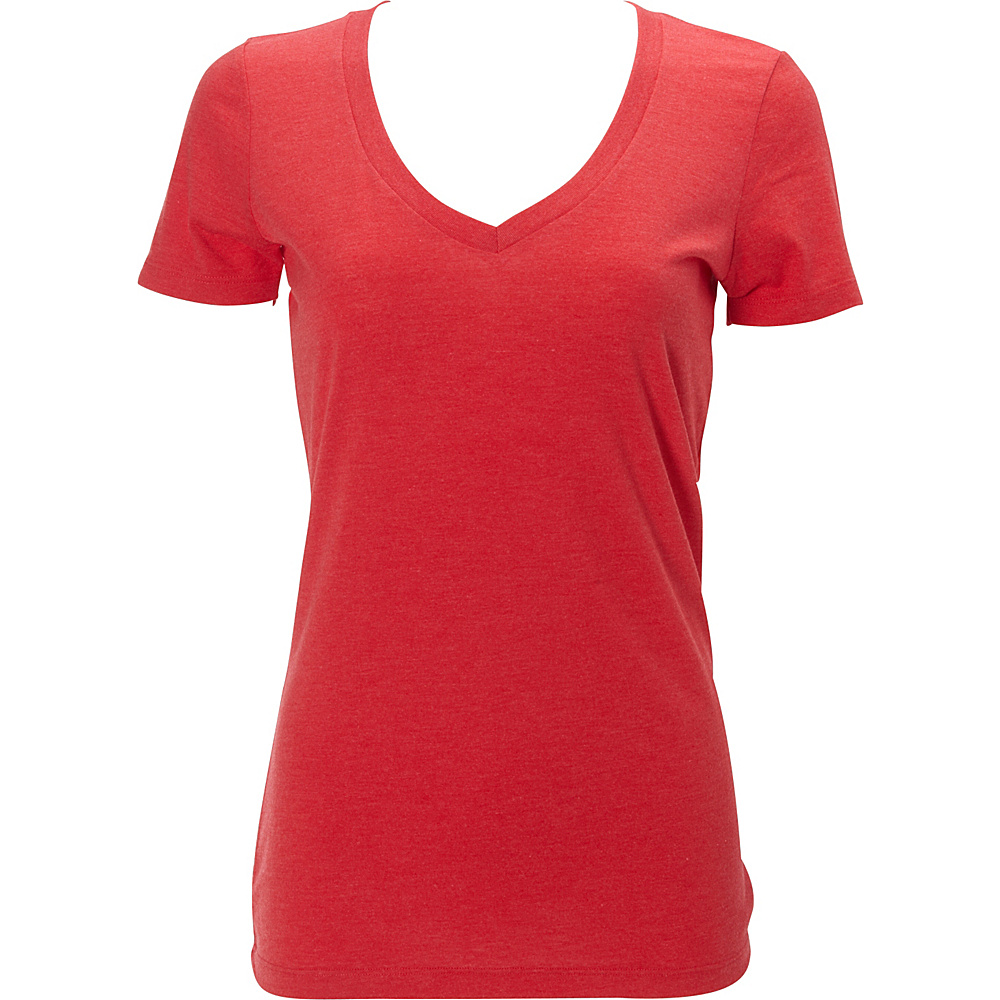 Simplex Apparel Triblend Womens Deep V Tee L - Ruby Red - Simplex Apparel Womens Apparel - Apparel & Footwear, Women's Apparel