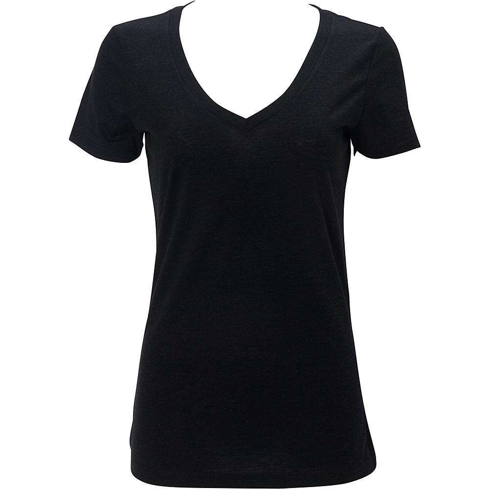 Simplex Apparel Triblend Womens Deep V Tee L - Vintage Black - Simplex Apparel Womens Apparel - Apparel & Footwear, Women's Apparel
