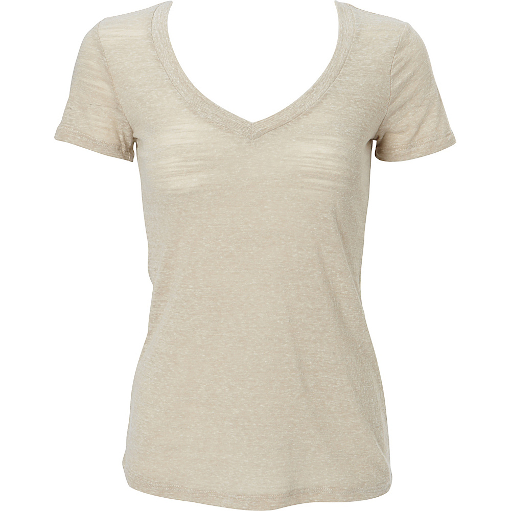 Simplex Apparel Triblend Slub Womens Deep V Tee L - Sand - Simplex Apparel Womens Apparel - Apparel & Footwear, Women's Apparel