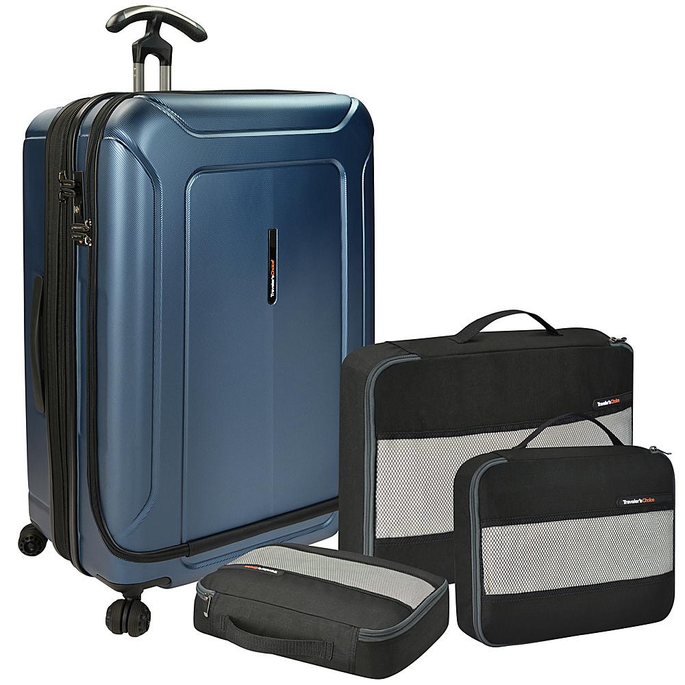 Traveler s Choice Barcelona 30 Polycarbonate Hardside Spinner Packing Cubes Set Blue Traveler s Choice Luggage Sets