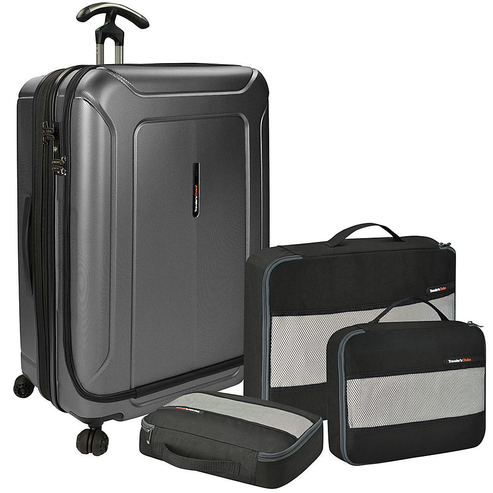 Traveler s Choice Barcelona 30 Polycarbonate Hardside Spinner Packing Cubes Set Gray Traveler s Choice Luggage Sets