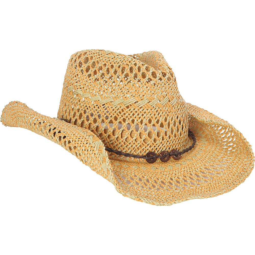 Sun N Sand Western Cowboy Hat One Size - Natural - Sun N Sand Hats/Gloves/Scarves - Fashion Accessories, Hats/Gloves/Scarves
