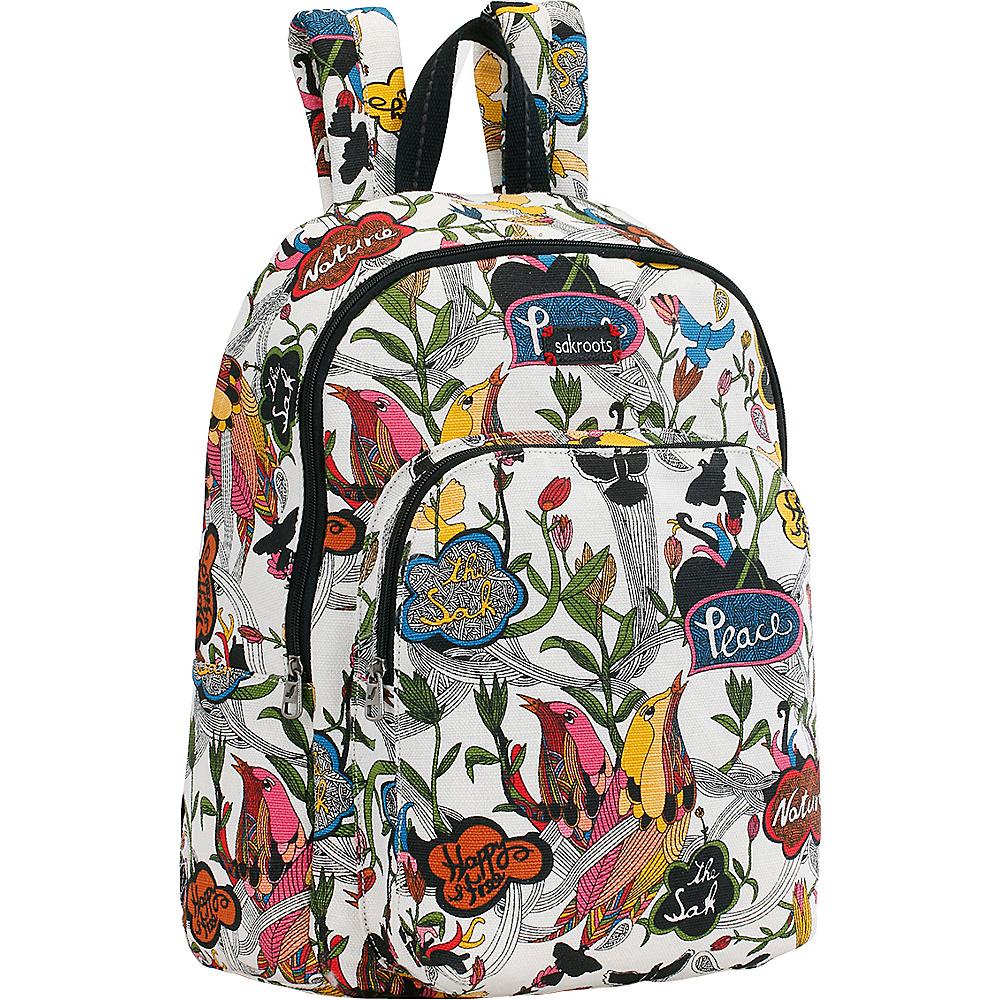 Sakroots Artist Circle Medium Backpack White Peace - Sakroots School & Day Hiking Backpacks