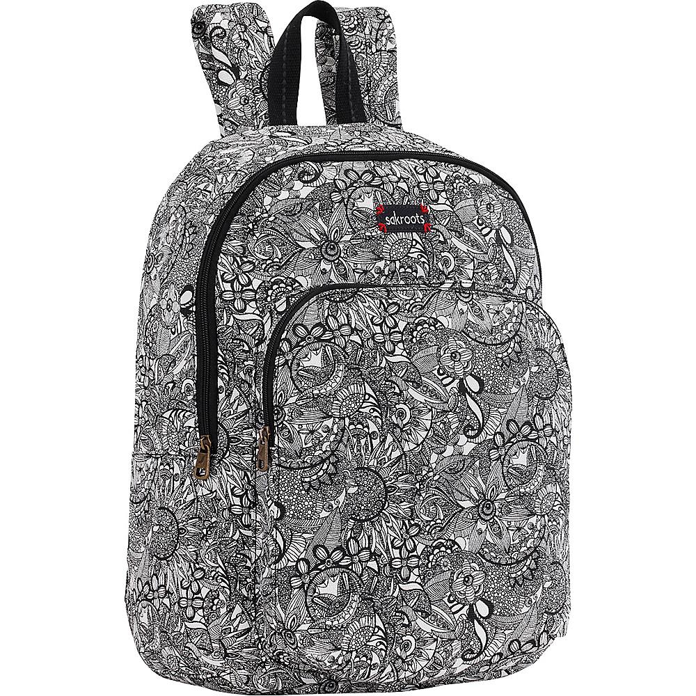 Sakroots Artist Circle Medium Backpack Black & White Spirit Desert - Sakroots Everyday Backpacks