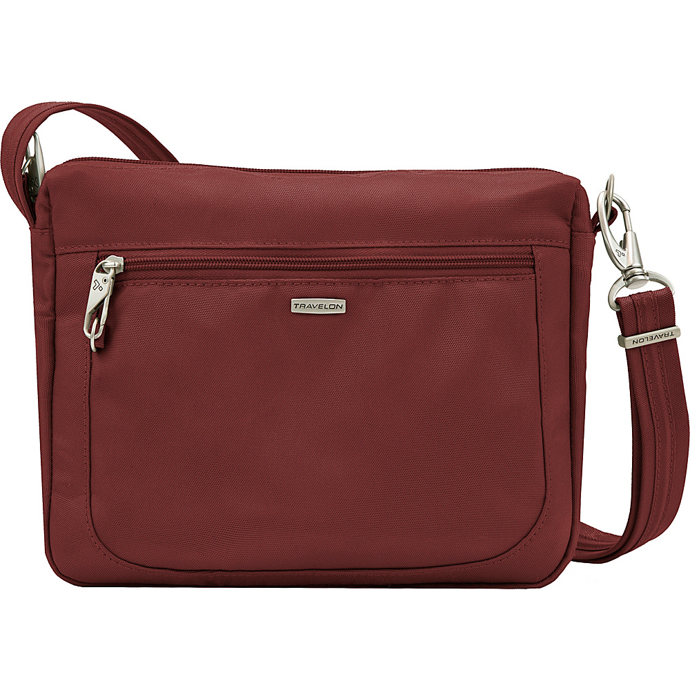 Travelon Anti-theft Classic Small E/W Crossbody Bag Wine - Travelon Fabric Handbags - Handbags, Fabric Handbags