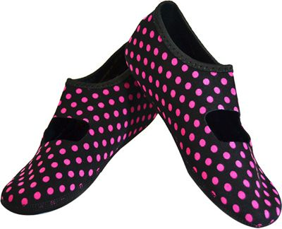 NuFoot Mary Jane Travel Slipper - Patterns S - Black & Pink Polka Dot - Small - NuFoot Women's Footwear 10432794