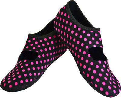 NuFoot Mary Jane Travel Slipper - Patterns L - Black & Pink Polka Dot - Large - NuFoot Women's Footwear 10432796