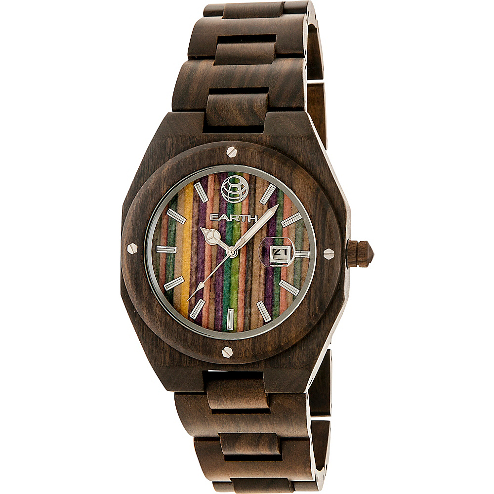 Earth Wood Cypress Skateboard Dial Wood Watch Dark Brown Earth Wood Watches