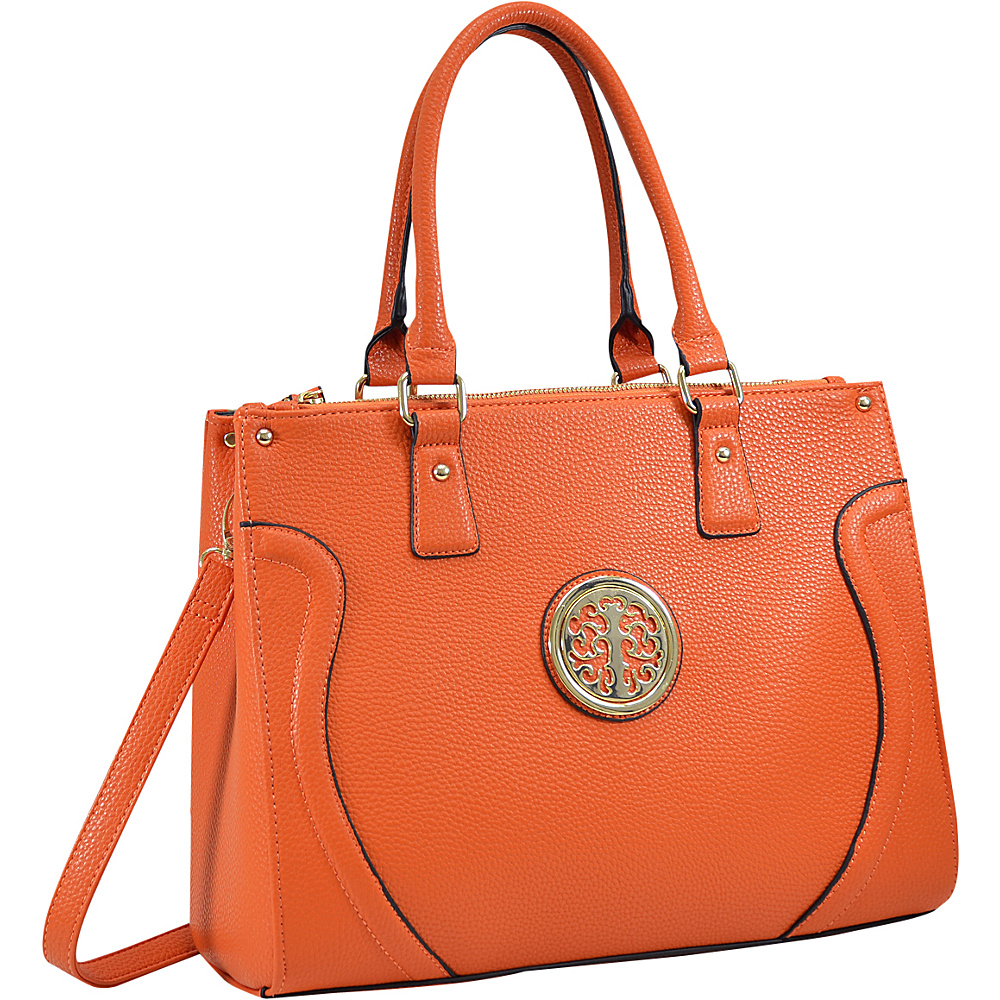 Dasein Fashion Gold-Tone Work Satchel Orange - Dasein Fabric Handbags - Handbags, Fabric Handbags