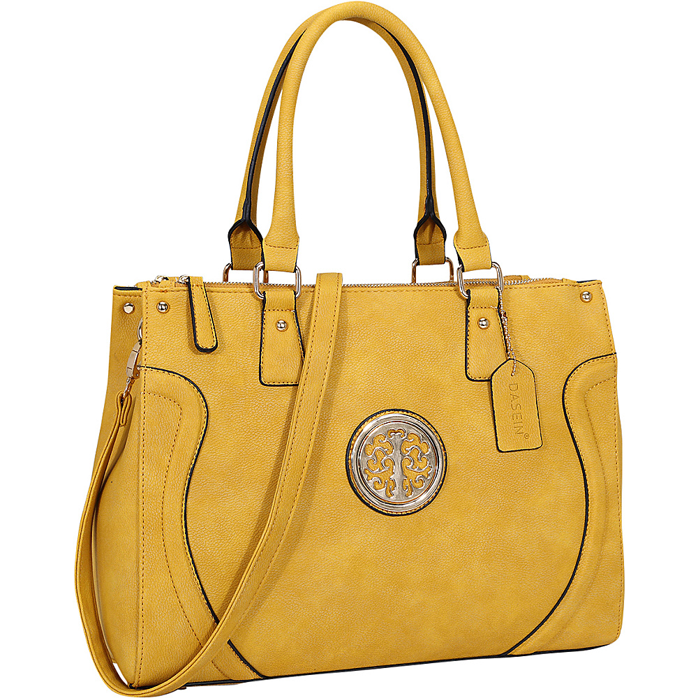 Dasein Fashion Gold-Tone Work Satchel Yellow - Dasein Fabric Handbags - Handbags, Fabric Handbags