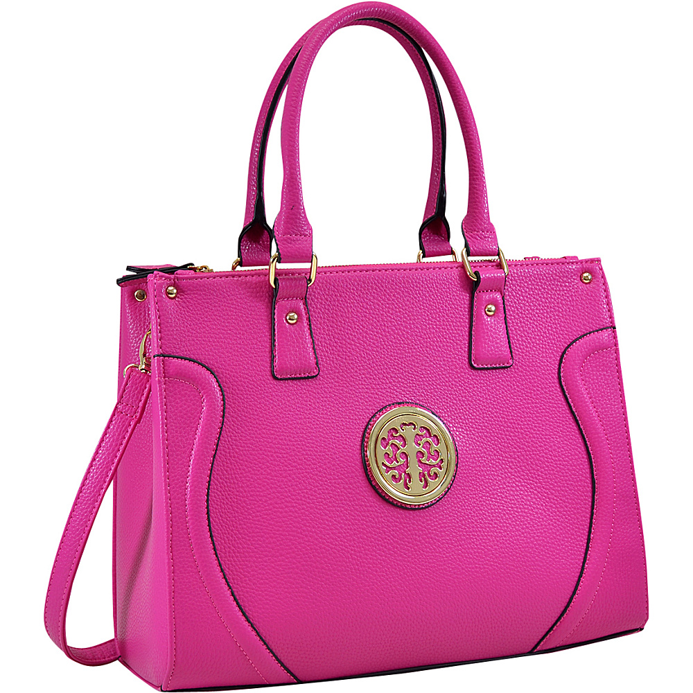 Dasein Fashion Gold-Tone Work Satchel Fuchsia - Dasein Fabric Handbags - Handbags, Fabric Handbags