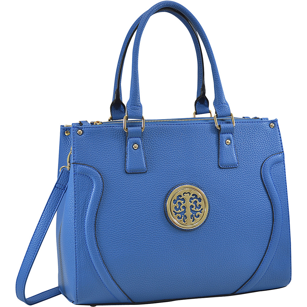 Dasein Fashion Gold-Tone Work Satchel Blue - Dasein Fabric Handbags - Handbags, Fabric Handbags