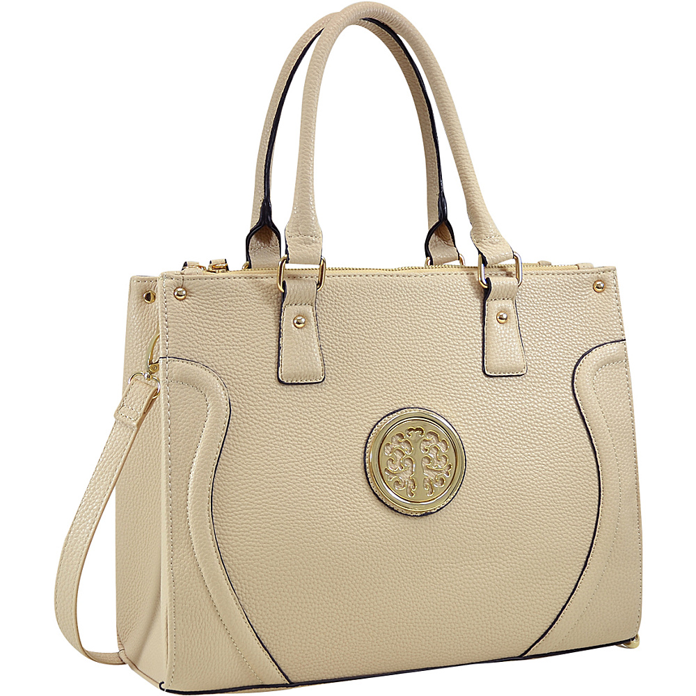Dasein Fashion Gold-Tone Work Satchel Beige - Dasein Fabric Handbags - Handbags, Fabric Handbags