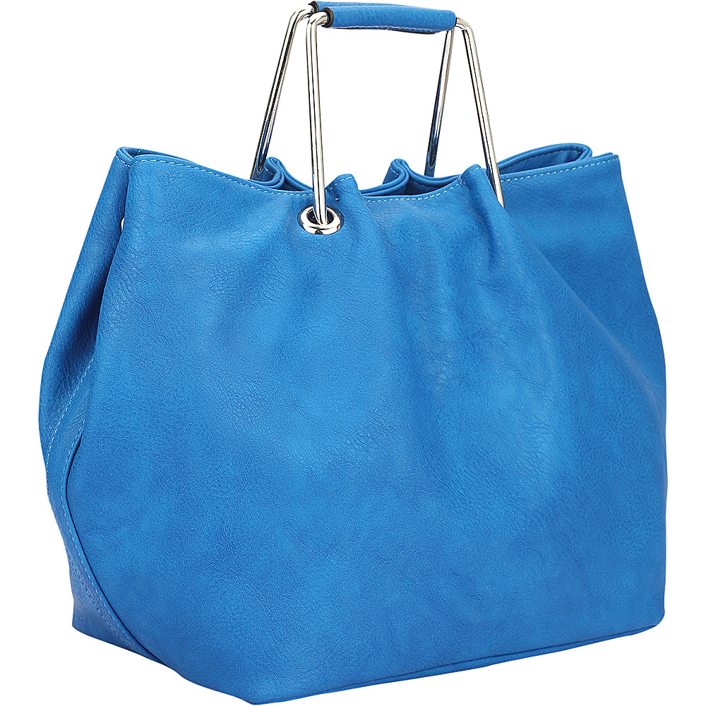 Dasein Square Handle Croc Textured Tote with Removable Shoulder Strap Royal Blue - Dasein Manmade Handbags - Handbags, Manmade Handbags