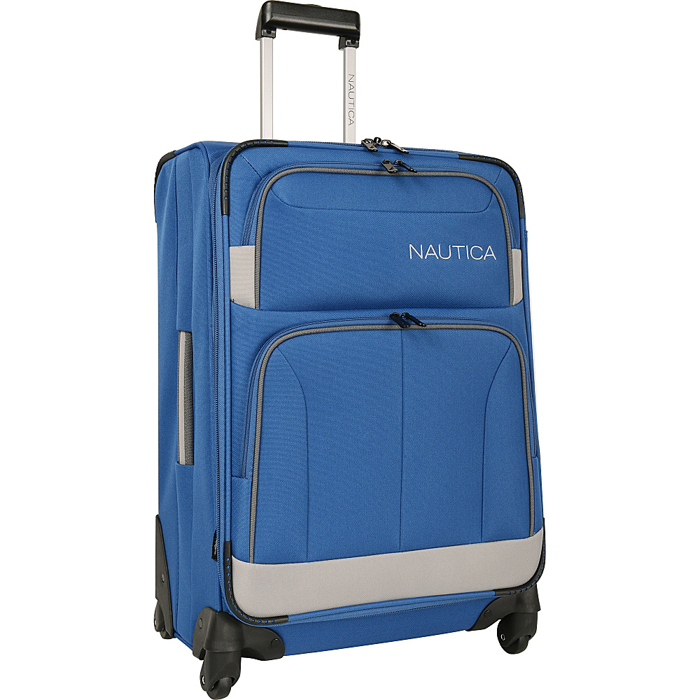 "Nautica Shipline 24"" Expandable Spinner True Blue/Charcoal Grey - Nautica Softside Checked"