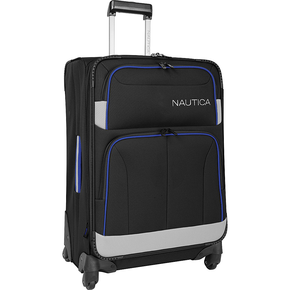 "Nautica Shipline 24"" Expandable Spinner Blk/Gry/Cbbl - Nautica Softside Checked"
