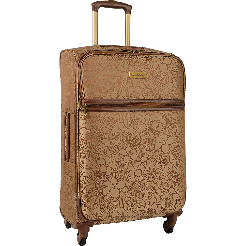 Tommy Bahama Mahalo 25 Expandable Spinner Suitcase Brown Tan Hibiscus Tommy Bahama Softside Checked