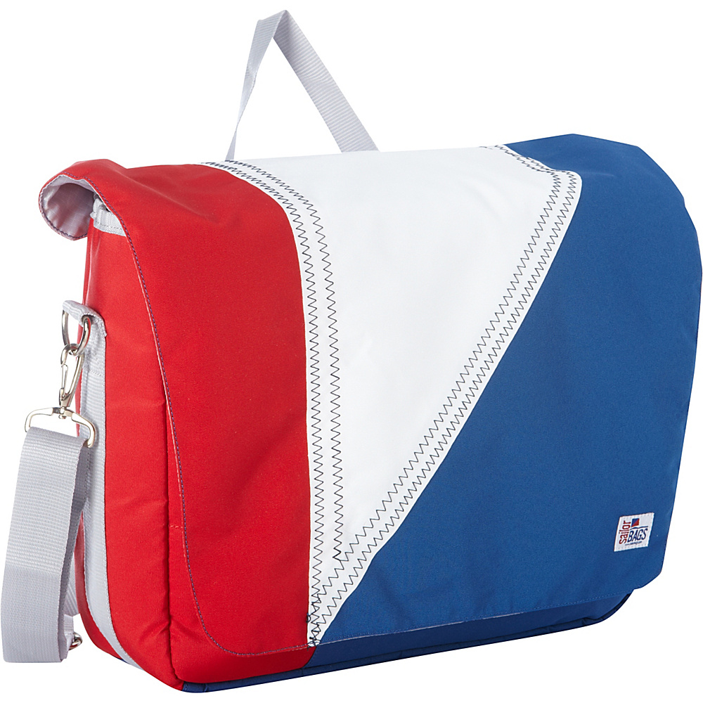SailorBags Tri Sail Messenger Red White and Blue with Grey Trim SailorBags Messenger Bags