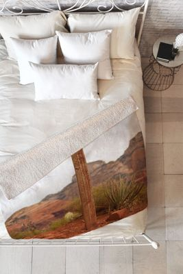 DENY Designs Barbara Sherman  Sherpa Fleece Blanket Trail Orange - End of Trail - DENY Designs Travel Pillows & Blankets
