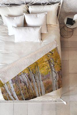 DENY Designs Barbara Sherman  Sherpa Fleece Blanket Aspen Yellow - Golden Aspens - DENY Designs Travel Pillows & Blankets