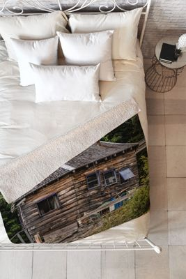 DENY Designs Barbara Sherman  Sherpa Fleece Blanket Wood - Lobster Shack - DENY Designs Travel Pillows & Blankets